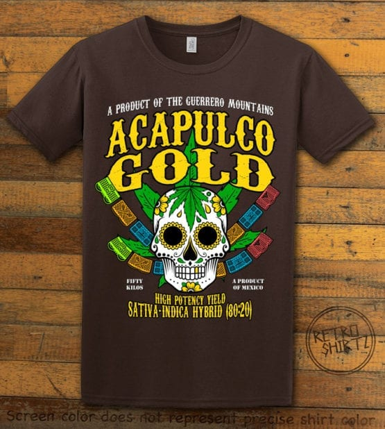 This is the main graphic design on a brown shirt for the Weed Shirt: Acapulco Gold Sativa Indica Hybrid