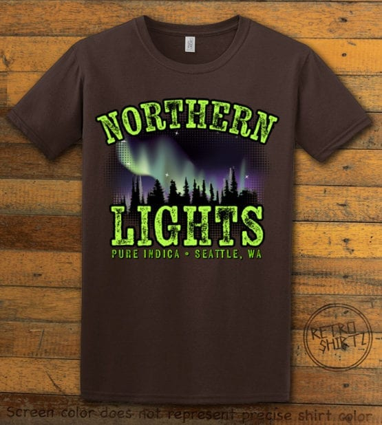 This is the main graphic design on a brown shirt for the Weed Shirt: Northern Lights Indica