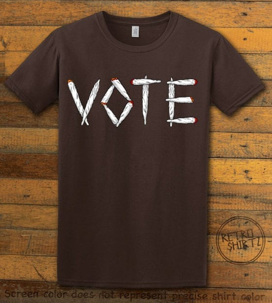 This is the main graphic design on a brown shirt for the Weed Shirt: Vote Legalize Marijuana
