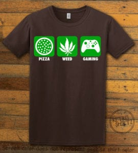 This is the main graphic design on a brown shirt for the Weed Shirt: Pizza Weed Gaming