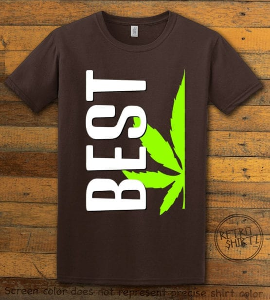 This is the main graphic design on a brown shirt for the Weed Shirt: Best of Best Buds