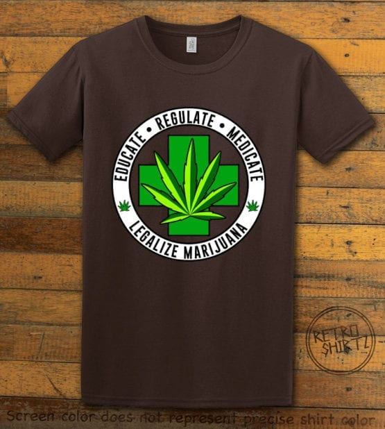 This is the main graphic design on a brown shirt for the Weed Shirt: Legalize Medical Marijuana