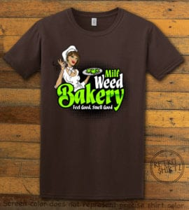 This is the main graphic design on a brown shirt for the Weed Shirt: Milf Weed Bakery