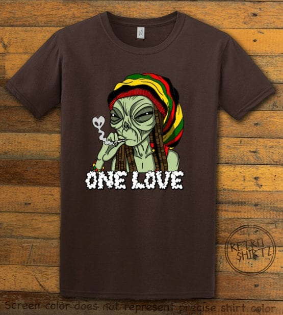 This is the main graphic design on a brown shirt for the Weed Shirt: Rasta Alien