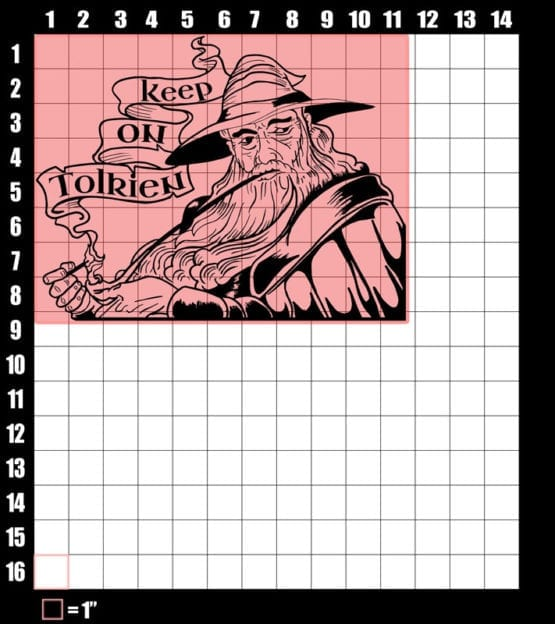 These are the graphic design dimensions for the Weed Shirt: Gandalf Smoking Pipeweed