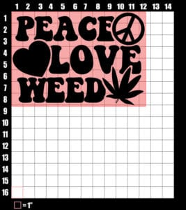 These are the graphic design dimensions for the Weed Shirt: Peace Love Weed