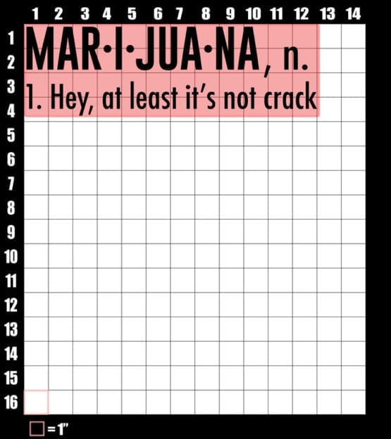 These are the graphic design dimensions for the Weed Shirt: Marijuana Definition