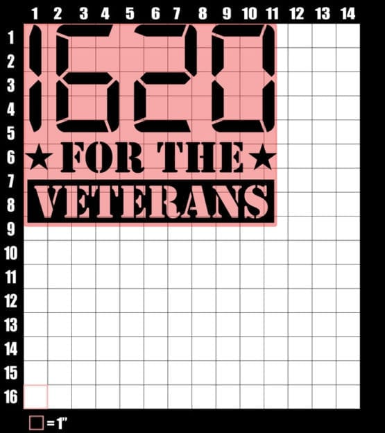 These are the graphic design dimensions for the Weed Shirt: 1620 Veterans