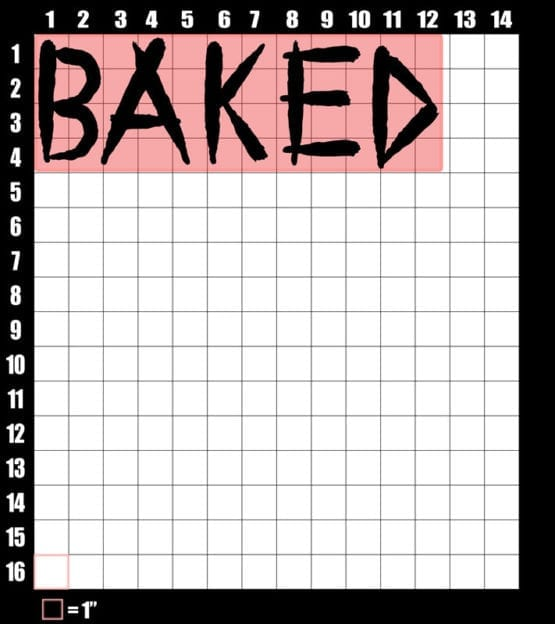 These are the graphic design dimensions for the Weed Shirt: Baked Joint Letters
