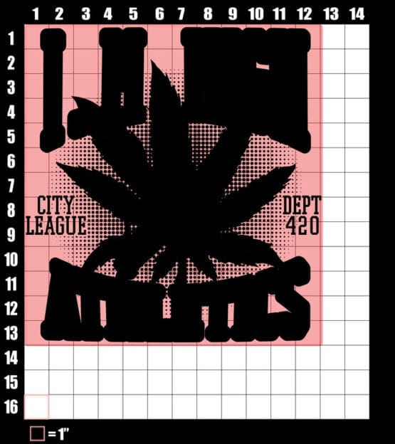 These are the graphic design dimensions for the Weed Shirt: Marijuana High School