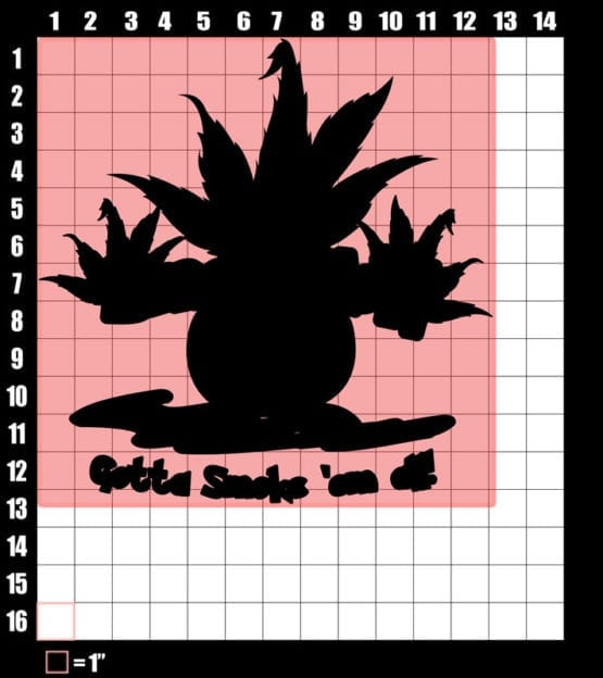 This is the main graphic design for the Weed Shirt: Smokemon Oddish Pot Leaf
