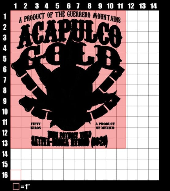 These are the graphic design dimensions for the Weed Shirt: Acapulco Gold Sativa Indica Hybrid