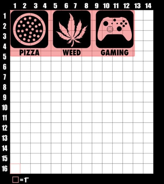 These are the graphic design dimensions for the Weed Shirt: Pizza Weed Gaming