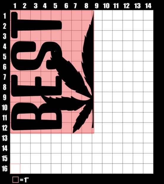 These are the graphic design dimensions for the Weed Shirt: Best of Best Buds