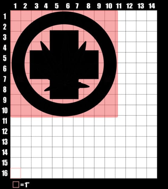 These are the graphic design dimensions for the Weed Shirt: Legalize Medical Marijuana