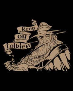 This is the main graphic design for the Weed Shirt: Gandalf Smoking Pipeweed