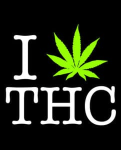 This is the main graphic design for the Weed Shirt: I Heart THC