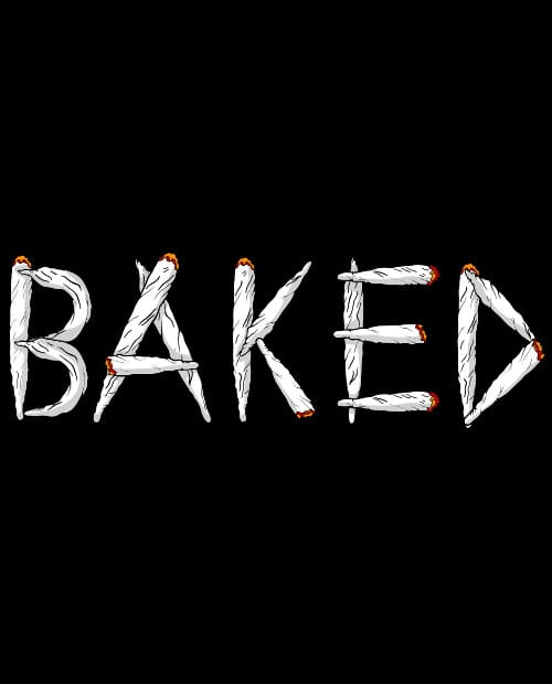 This is the main graphic design for the Weed Shirt: Baked Joint Letters