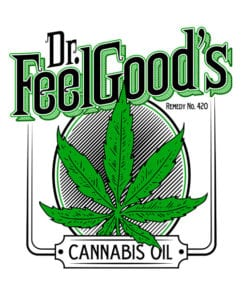 This is the main graphic design for the Weed Shirt: Dr. Feel Good's Cannabis Oil