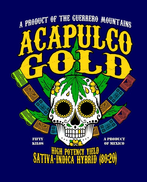 This is the main graphic design for the Weed Shirt: Acapulco Gold Sativa Indica Hybrid