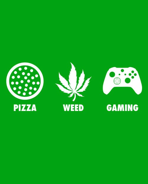 This is the main graphic design for the Weed Shirt: Pizza Weed Gaming