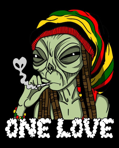 This is the main graphic design for the Weed Shirt: Rasta Alien
