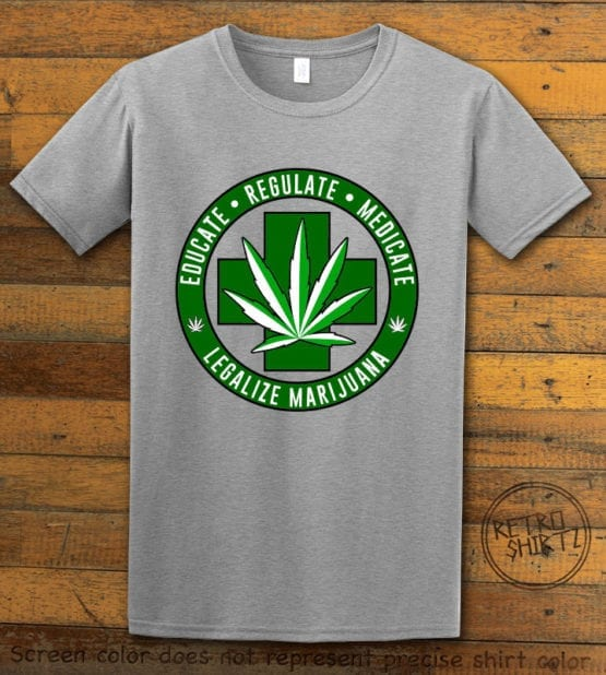 This is the main graphic design on a gray shirt for the Weed Shirt: Legalize Medical Marijuana