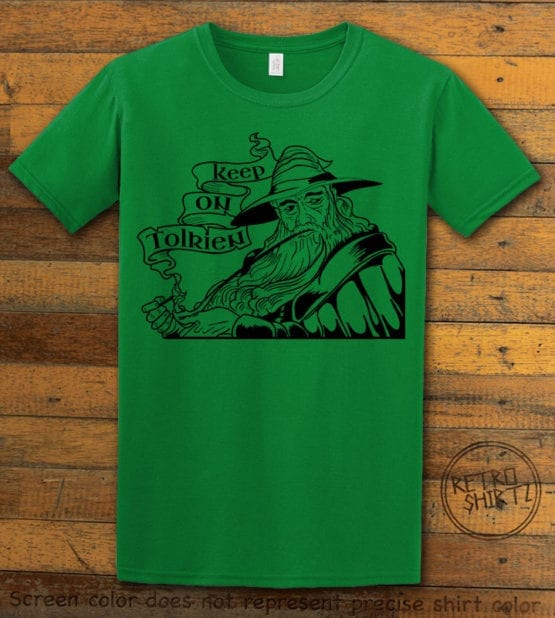 This is the main graphic design on a green shirt for the Weed Shirt: Gandalf Smoking Pipeweed