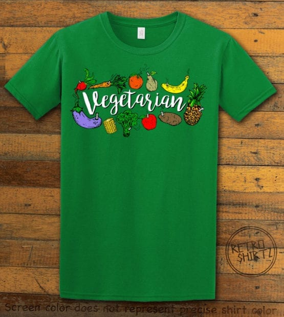 This is the main graphic design on a green shirt for the Weed Shirt: Vegetarian