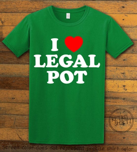 This is the main graphic design on a green shirt for the Weed Shirt: I Heart Pot