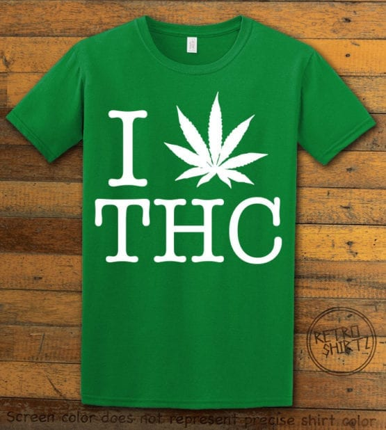 This is the main graphic design on a green shirt for the Weed Shirt: I Heart THC