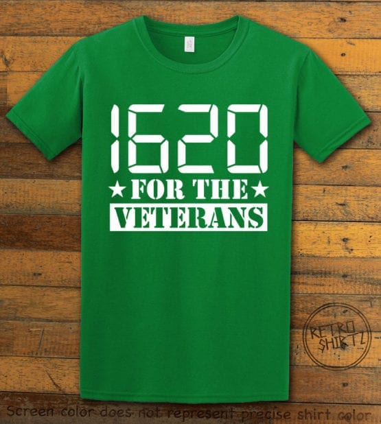 This is the main graphic design on a green shirt for the Weed Shirt: 1620 Veterans