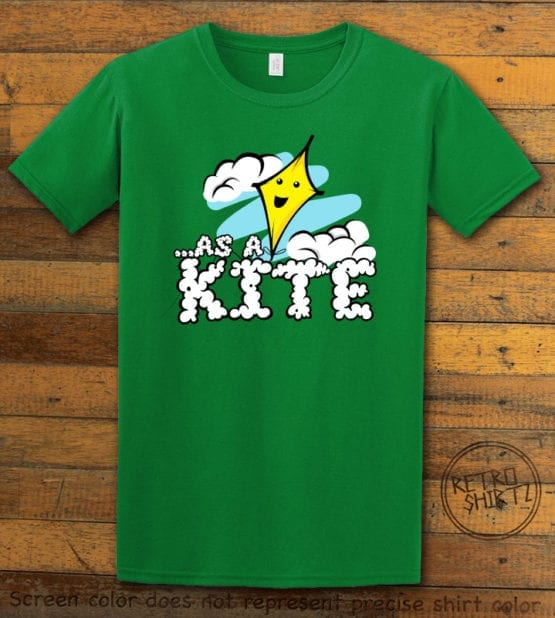 This is the main graphic design on a green shirt for the Weed Shirt: High as a Kite