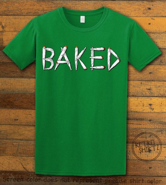 This is the main graphic design on a green shirt for the Weed Shirt: Baked Joint Letters