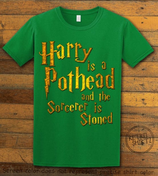This is the main graphic design on a green shirt for the Weed Shirt: Harry is a Pothead