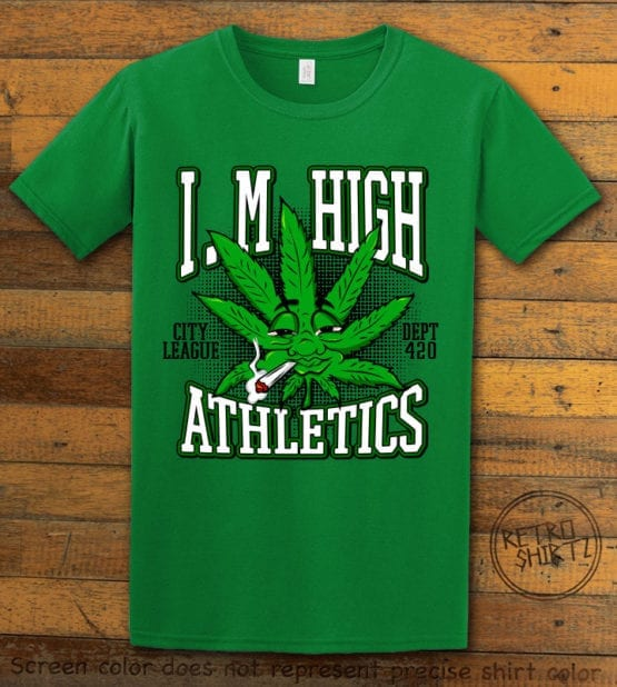 This is the main graphic design on a green shirt for the Weed Shirt: Marijuana High School