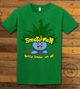 This is the main graphic design on a green shirt for the Weed Shirt: Smokemon Oddish Pot Leaf