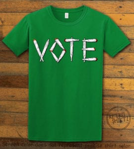 This is the main graphic design on a green shirt for the Weed Shirt: Vote Legalize Marijuana
