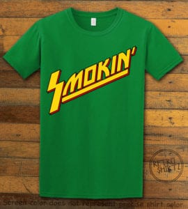 This is the main graphic design on a green shirt for the Weed Shirt: Smokin Rockstar