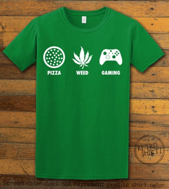 This is the main graphic design on a green shirt for the Weed Shirt: Pizza Weed Gaming