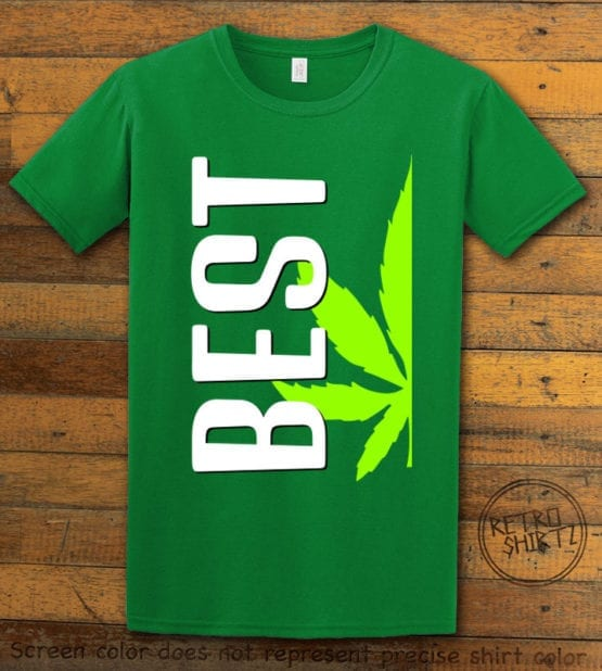 This is the main graphic design on a green shirt for the Weed Shirt: Best of Best Buds