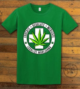 This is the main graphic design on a green shirt for the Weed Shirt: Legalize Medical Marijuana