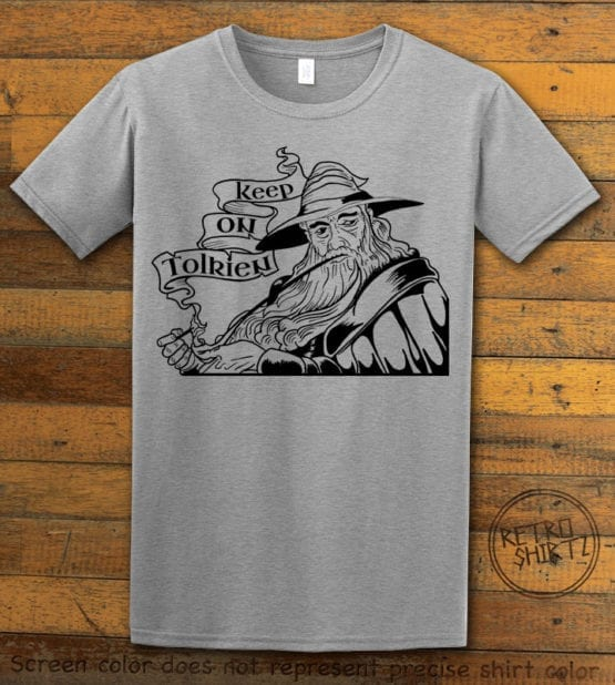 This is the main graphic design on a gray shirt for the Weed Shirt: Gandalf Smoking Pipeweed