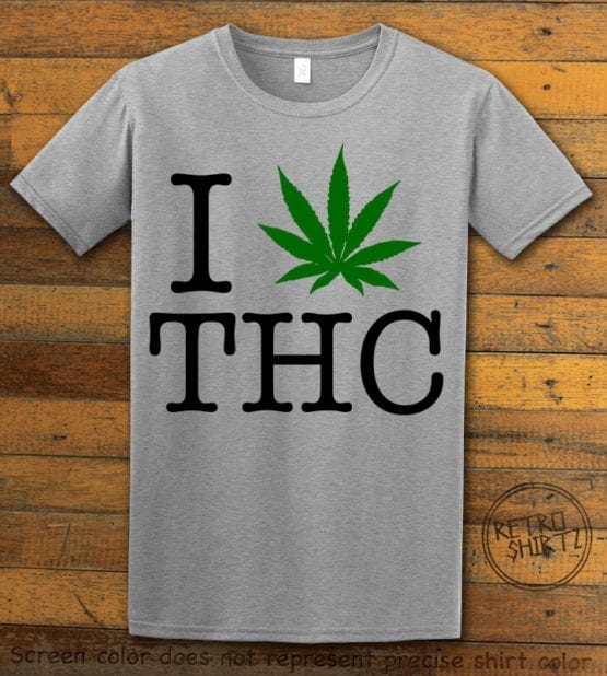 This is the main graphic design on a gray shirt for the Weed Shirt: I Heart THC