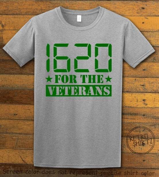 This is the main graphic design on a gray shirt for the Weed Shirt: 1620 Veterans