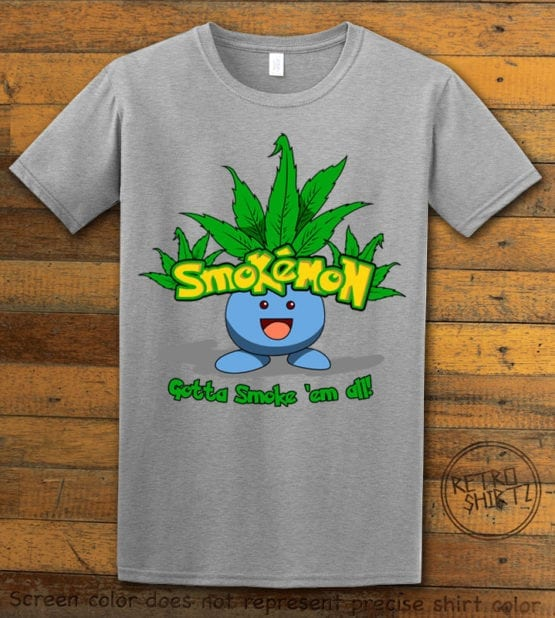 This is the main graphic design on a gray shirt for the Weed Shirt: Smokemon Oddish Pot Leaf