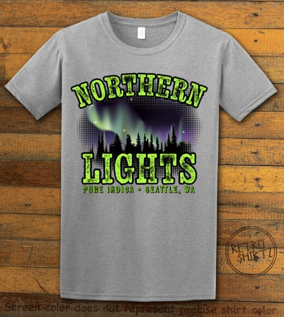 This is the main graphic design on a gray shirt for the Weed Shirt: Northern Lights Indica