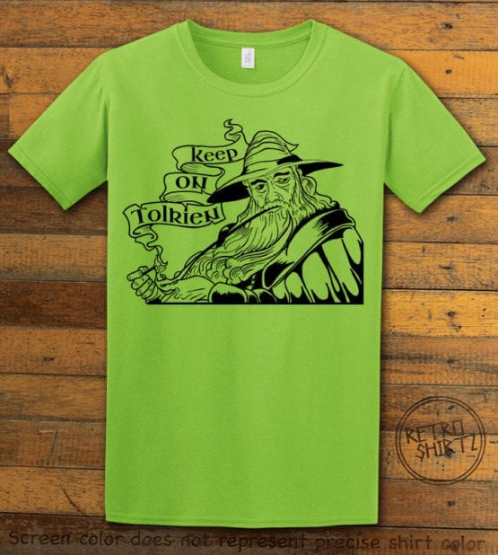 This is the main graphic design on a lime shirt for the Weed Shirt: Gandalf Smoking Pipeweed