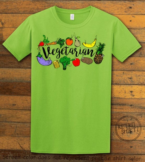 This is the main graphic design on a lime shirt for the Weed Shirt: Vegetarian