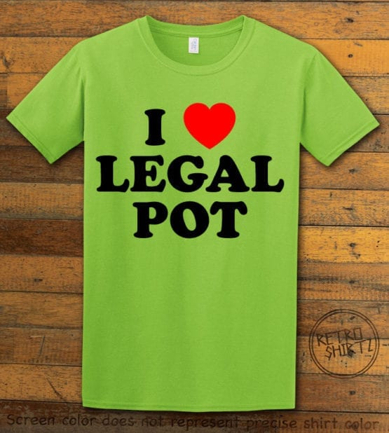 This is the main graphic design on a lime shirt for the Weed Shirt: I Heart Pot